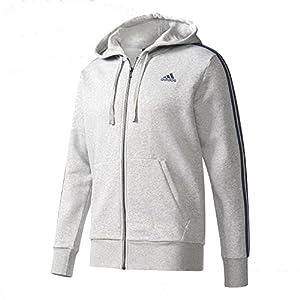 adidas Men's Essentials 3-Stripe Full Zip Fleece Hoodie, Medium Grey Heather/Collegiate Navy, Medium