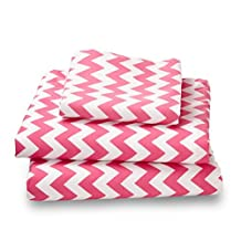 Customers Prefer Amadora Ultra Microfiber Bedding/Bed Sheets Over 800 Thread Count Egyptian Cotton!(Pink Chevron;XL Twin)
