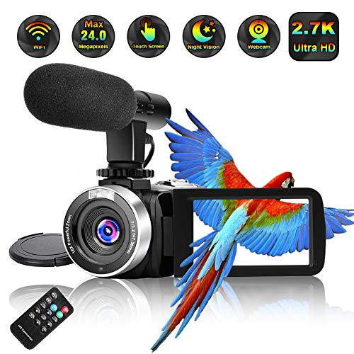 Video Camera Camcorder,Ultra HD 2.7K Vlogging Camera 30 FPS 24MP WiFi Camcorders with Microphone IR Night Vision YouTube Camera with Time Lapse & Motion Detection (2.7K cam)