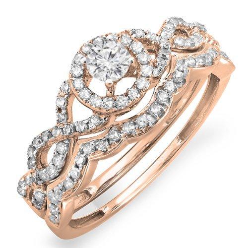 0 50 Carat Ctw 14k White Gold Round Diamond Ladies Halo Style