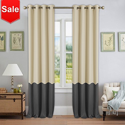 NICETOWN Colorblock Bedroom Blackout Curtains - Mix and Match Thermal Insulated Grommet Window Blackout Drape Panels (2 Pieces,52 by 95