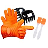Silicone Non Slip Cooking Gloves Set, Heat Resistant Oven Mitt with 2 Meat Claws Shredder and 2 Silicone Basting Brush for BBQ, Baking, Cooking and Kitchen (Orange)