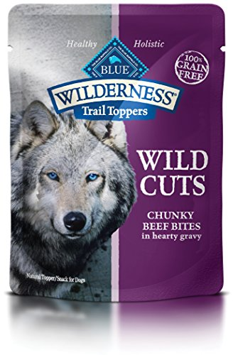BLUE Wilderness Trail Toppers Wild Cuts Grain Free Chunky Beef Bites in Hearty Gravy Wet Dog Food 3-oz (pack of 24)