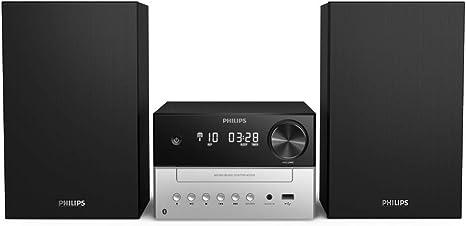 Philips M3205/12 Minicadena de Música con CD y USB y Bluetooth (Radio FM, MP3-CD, Puerto USB para Carga, 18 W, Altavoces Bass Reflex, Control Digital ...