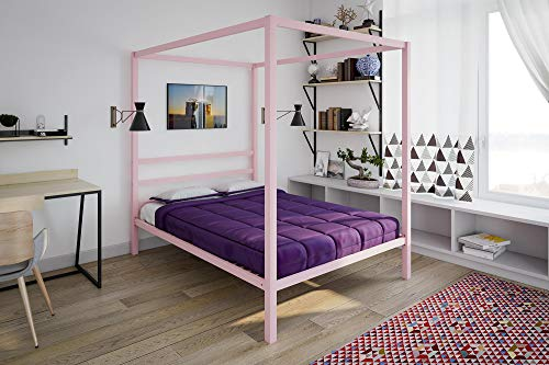 (DHP Modern Metal Canopy Bed, Full, Pink)