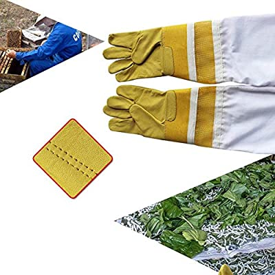Rziioo Goatskin,Beekeeping Gloves,Extra Long Twill Elasticated Gauntlets,Ventilated Sleeves,Sting Proof Cuffs