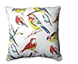 25'' Indoor and Outdoor Off White and Colorful Backyard Birds Square Floor Pillow
