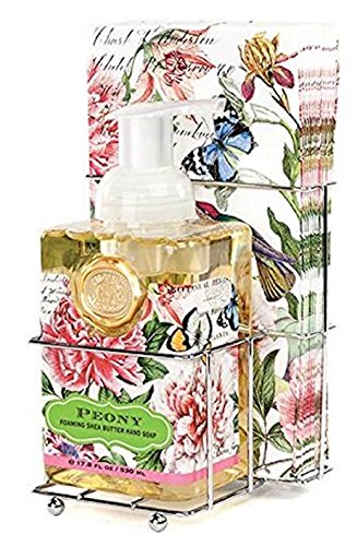 (Michel Design Works Foaming Hand Soap and Napkin Caddy Set, Peony,)