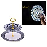 Bone China Cake Stand, Round Cupcake Stand Serving Platter Holder, Display Cupcake Small Fruit Dessert, Fine and Its Light Transmission is Strong,A
