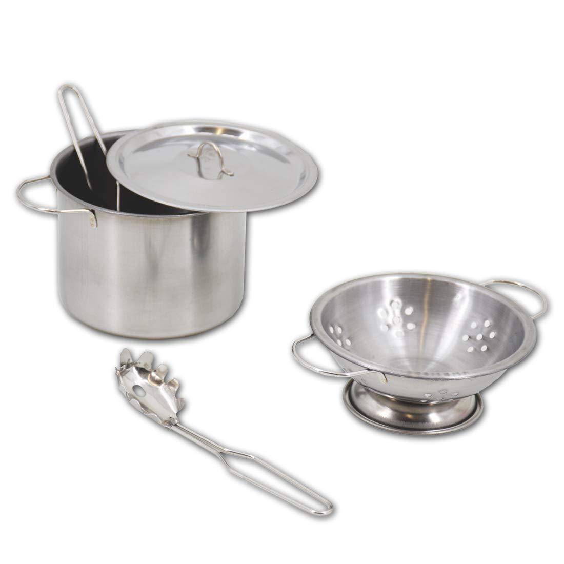 deAO Utensilios de Cocina y Accesorios para Niños y Niñas Ollas y Cacerolas de Imitación Acero Inoxidable Accesorios de Cocina Infantil (13 Piezas): ...