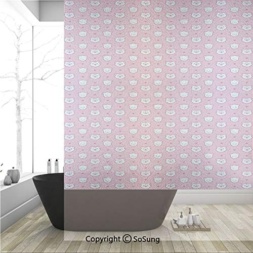 3D Decorative Privacy Window Films,Adorable Funny Kitten Faces Expressions Smiling Furry Cartoon Characters on Polka Dots Decorative,No-Glue Self Static Cling Glass film for Home Bedroom Bathroom Kitc