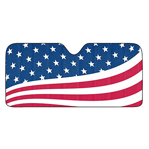 The United States of America USA Red White Blue Stars Stripes American US Flag Car Truck SUV Universal Fit Front Windshield Sunshade - Accordion Style