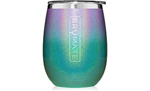 BrüMate Uncork'd XL 14oz Wine Glass Tumbler With Splash-proof Lid - Made With Vacuum Insulated Stainless Steel (Glitter Peacock Violet Ombre)