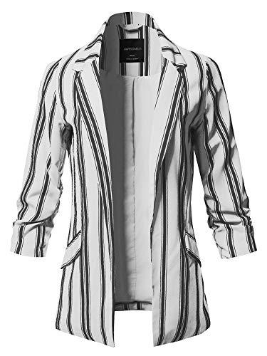 (Pinstripe 3/4 Sleeves Notched Collar Blazer Jacket White Size L)