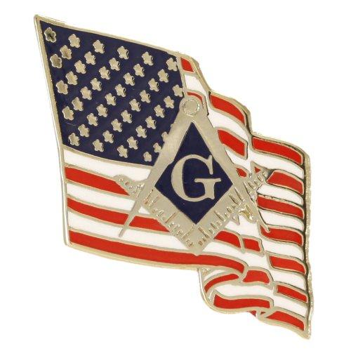 American Flag with Masonic Emblem One Inch Lapel Pin with Butterfly Clutch - Emblem Lapel Pin Flag