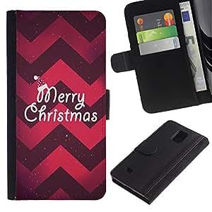 iBinBang / Flip Funda de Cuero Case Cover - Christmas Chevron Red Purple Xmas - Samsung Galaxy Note 4 SM-N910