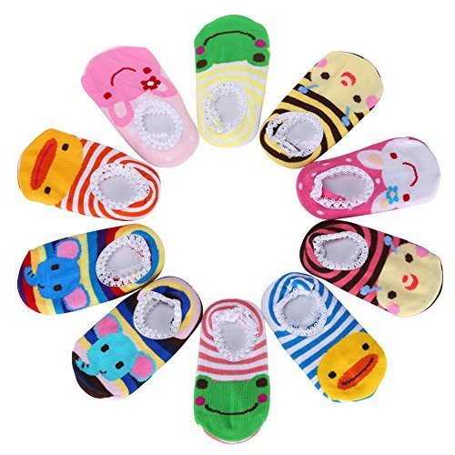 GHB 10 Pairs Baby Socks Cute Animal Toddler Socks Anti Slip Skid Cartoon Socks for 5-20 Months Babies and Infants Stripes Boat Ankle Socks Baby Shoes (Pretty Cartoon Girls)