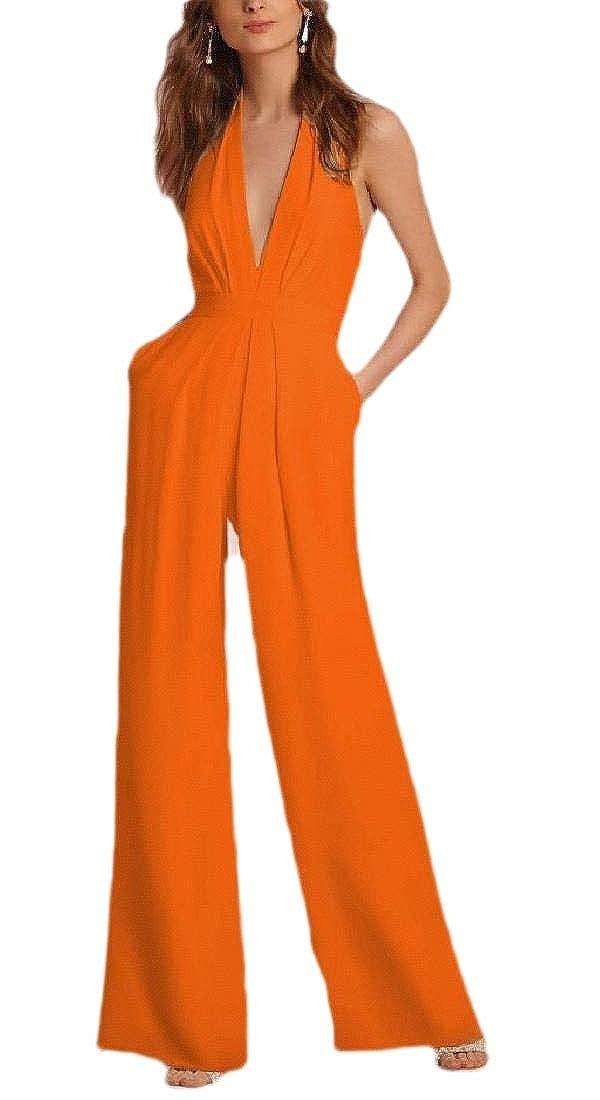 Womens Sleeveless Jumpsuits Formal V-Neck Halter Wide Leg Long Pants