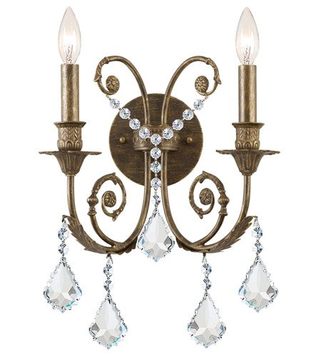 (Wall Sconces 2 Light With English Bronze Clear Swarovski Strass Crystal Wrought Iron 13 inch 120 Watts - World of Lighting )