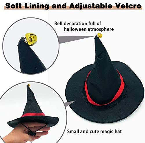 TOLOG Cat Halloween Costumes 2Pcs-Vampire Cloak and Wizard Hat for Halloween Dog Outfit Fairy Pet Cosplay Apparel Kitten Puppy Clothes 24