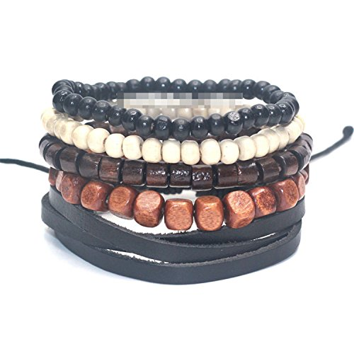 YouzhiWan007 1 Set 4-5 pcs Black Out Bamboo wood, Lava Stone Beads Stone Skull and Pull-Closure Leather Bracelet Men's Fashion Bracelet Pack AB14