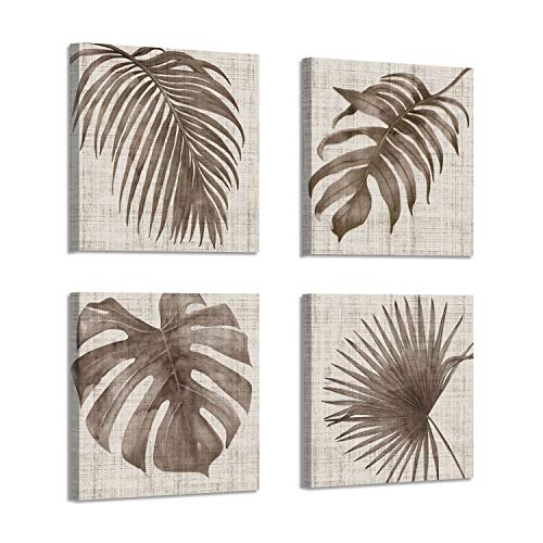 (Palm Picture Canvas Art Prints: Taupe Botanical Leaf Graphic Artwork Painting for Wall Decor ( 12
