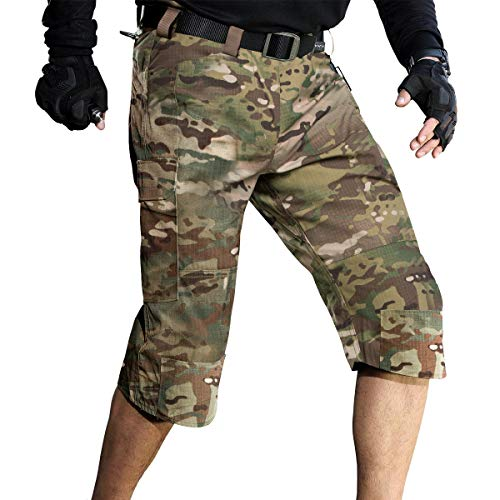(FREE SOLDIER Men's Capri Shorts Pants Casual 3/4 Water Resistant Multi Pockets Tactical Cargo Short (CP Camouflage W44))