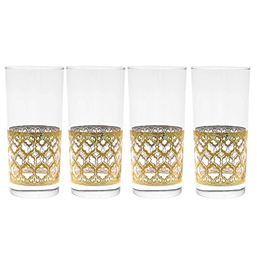 Culver Gold 22k 15-Ounce Cooler Glass Set of 4 - Glasses Gold Culver