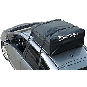 RoofBag 100% Waterproof Carrier Bundle: Includes Protective Roof Mat + Storage Bag for storing + Heavy Duty Straps + Cross Country Soft Car Top Carrier - Made in USA