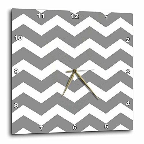 3dRose Charcoal Grey and White Zig Zag Chevron. Dark Gray Zigzag Pattern (Gray Clock Plate)