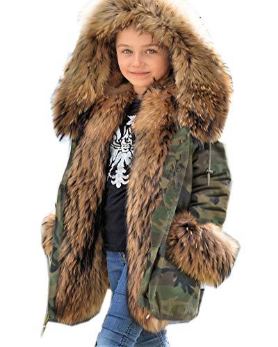Roiii Kids Girl Snow Jacket - Boy Snowproof Faux Fur Parka Winter Coat, Fleece Lined Childrens Winter Coat, Integrated Snowskirt (9/10 Year, Camo Amry) -