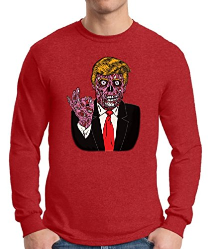 Obama And Michelle Costumes Halloween (Awkward Styles Men's Zombie Trump Long Sleeve T Shirt Tee Trump Halloween Costume Trumpkin Red)