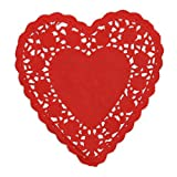 PEPPERLONELY 6 Inch Heart Shape Red Lace Paper Doilies 100 Count