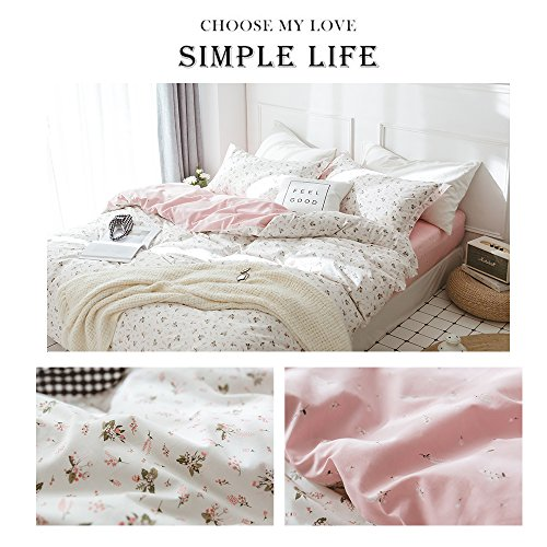 HIGHBUY Floral Printed Kids Duvet Cover Set Full Cotton Pink for Girls Reversible Garden Style Bedding Sets Queen with Zipper Closure for Children Comforter Covers Lightweight Soft by HIGHBUY (Image #6)