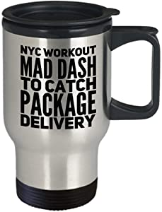 DKISEE New York City Travel Mug Workout Mad Dash To Catch Package Delivery Coffee Tea Cup 14oz