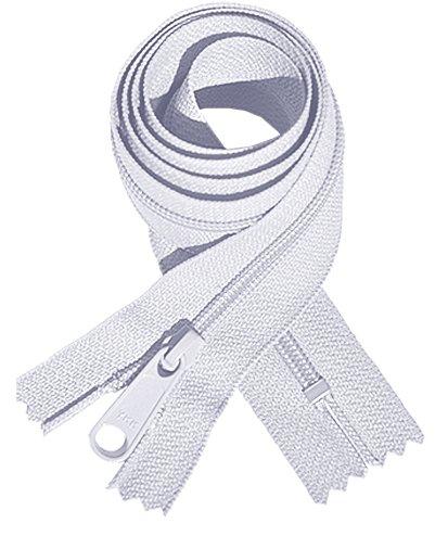 "YKK #4.5 Handbag Zipper 14"" with Extra-long Pull Slider ~ Closed Bottom ~ White (12 Zippers)"
