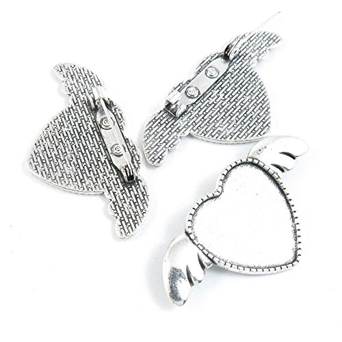 Qty 70 Pieces Jewelry Making Charms Filigrees A8XQ4 Pinback Brooch Heart Cabochon Setting Blank