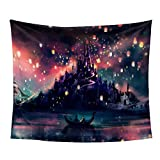 """iLeadon Tapestry Castle Lights Wall Hanging – Polyester Fabric Wall Decor for bedroom (60""""H x 80""""W, Castle Lights)"""