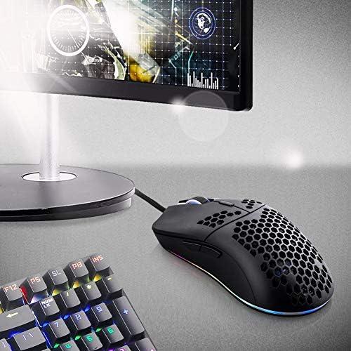 Snpurdiri S1 Pro RGB Lightweight Gaming Mouse PMW3360 12000 DPI Optical Sensor with Lightweight Honeycomb Shell Ultralight Ultraweave Cable(65G) 51RURJZW3 2BL