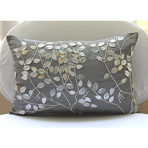 Silver Lumbar Pillow Cover, Mother Of Pearls Leaf Tropical Theme Pillows Cover, 12