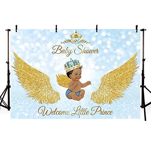 MEHOFOTO 7x5ft Royal Prince Baby Shower Party Backdrop Props Bokeh Light Blue Angel Gold Wing Welcome Little Prince Decorations God Gift Photography Background Photo Banner