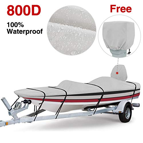 RVMasking 800D 100% Waterproof Boat Cover for V-Hull Runabouts and Bass Boats (16-18.5 ft Long by up to 98 inches Wide)