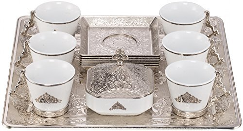 Royal Dore High End Stunning Espresso Turkish Greek Coffee Serving Set with Cups Saucers Sugar Bowl & Tray in Gift Box (Silver)