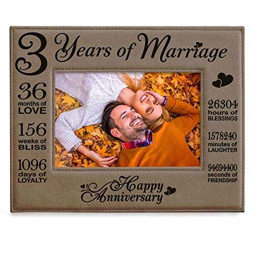 Kate Posh Our 3rd Wedding Anniversary, 3 Years Anniversary, 3 Years of Marriage, Gifts for Couple, Third Anniversary - Engraved Leather Picture Frame (5 x 7 Horizontal)