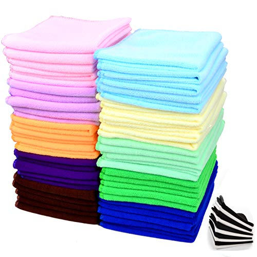60 Pcs(50+10) - Microfiber Cleaning Cloth Pack - for Cleaning & Cars & Glasses - Best Value & Quality ()