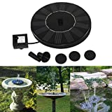 Iusun Solar Powered Bird Bath Fountain Pump for Garden and Patio, Free Standing 1.4W Solar Panel Kit Water Pump, Outdoor Watering Submersible Pump with 4 Pcs Different Spay Heads (Black)