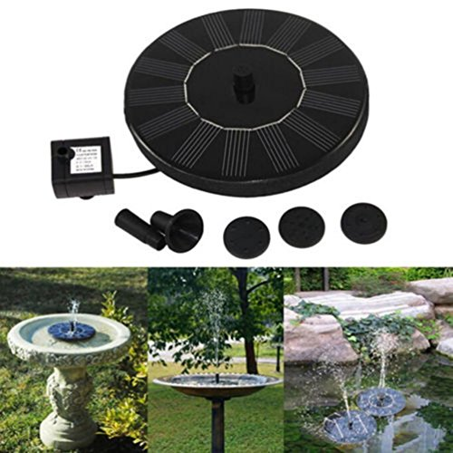 Iusun Solar Powered Bird Bath Fountain Pump for Garden and Patio, Free Standing 1.4W Solar Panel Kit Water Pump, Outdoor Watering Submersible Pump with 4 Pcs Different Spay Heads (Black) by Iusun