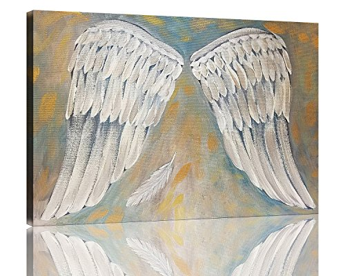 NAN Wind Angel Wings Painting White Art Artwork Wall Decor Modern Stretched and Framed Oil Painting Canvas the Picture For Living Room (Angel Canvas Art)