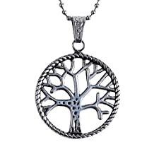 Simple Tree of Life Silver Stainless Steel Unisex Jewelry Pendant Necklace