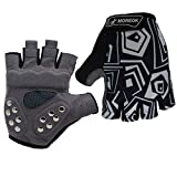 MOREOK Double Protect Padding Breathable Wear-Resistant Shockproof Summer Half Finger MTB Bike Cycling Gloves for Women and Man (Black,...